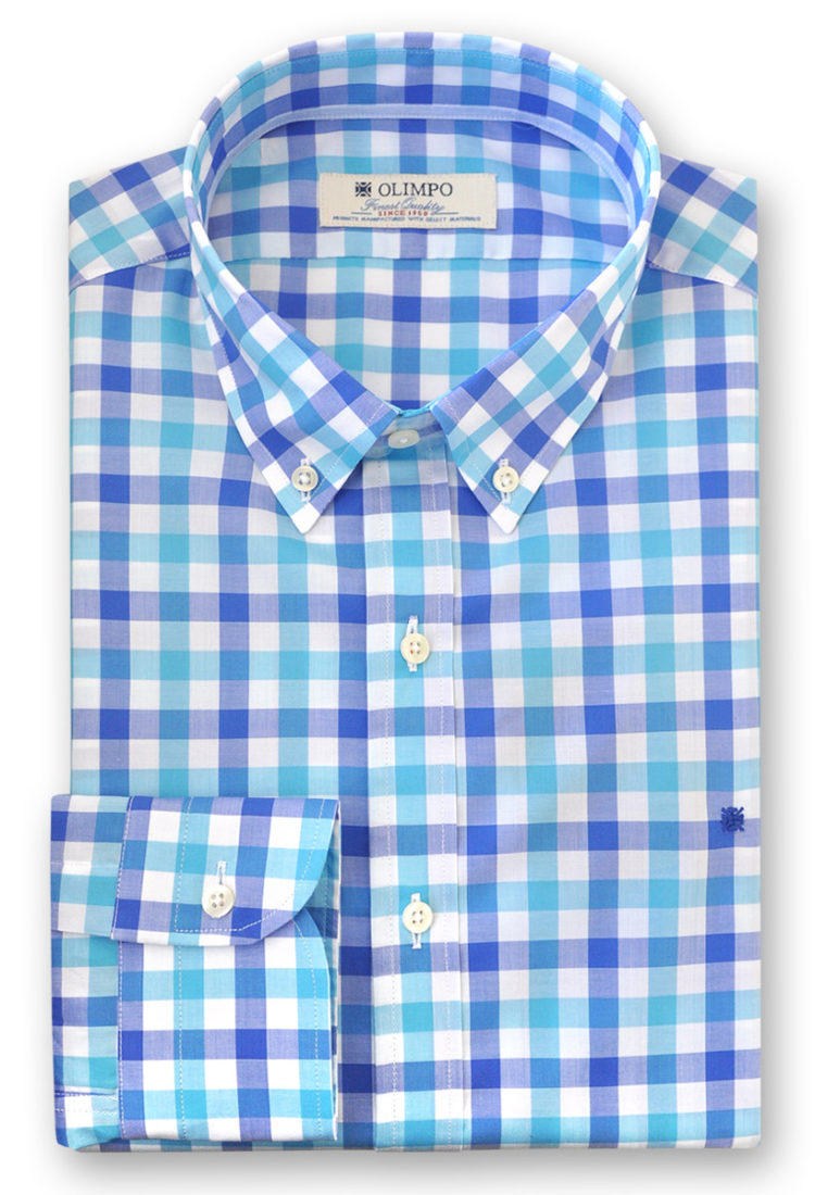 Camisa hombre de rayas de cuadros azules, marca Olimpo