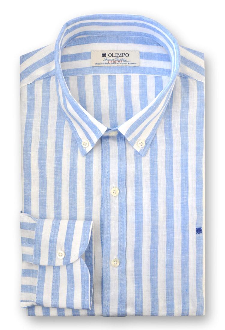 Camisa hombre de rayas azules, marca Olimpo