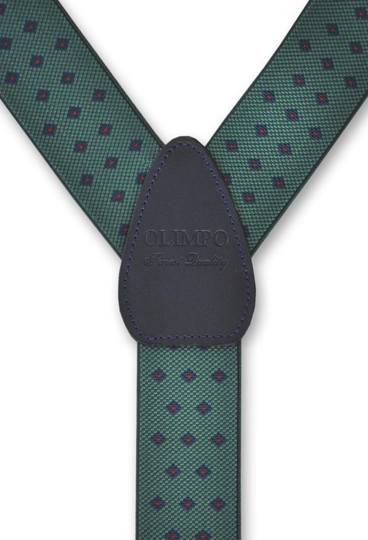 Tirantes para hombre verdes con motivos geométricos azules