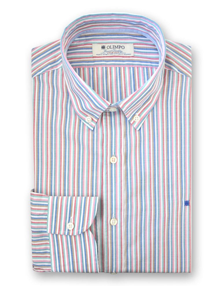 Camisa hombre de rayas de colores, marca Olimpo