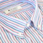 Detalle del cuello de camisa hombre de rayas de colores, marca Olimpo
