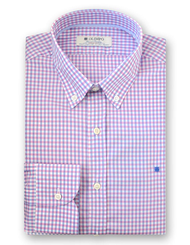 Camisa hombre de cuadros rosas, marca Olimpo