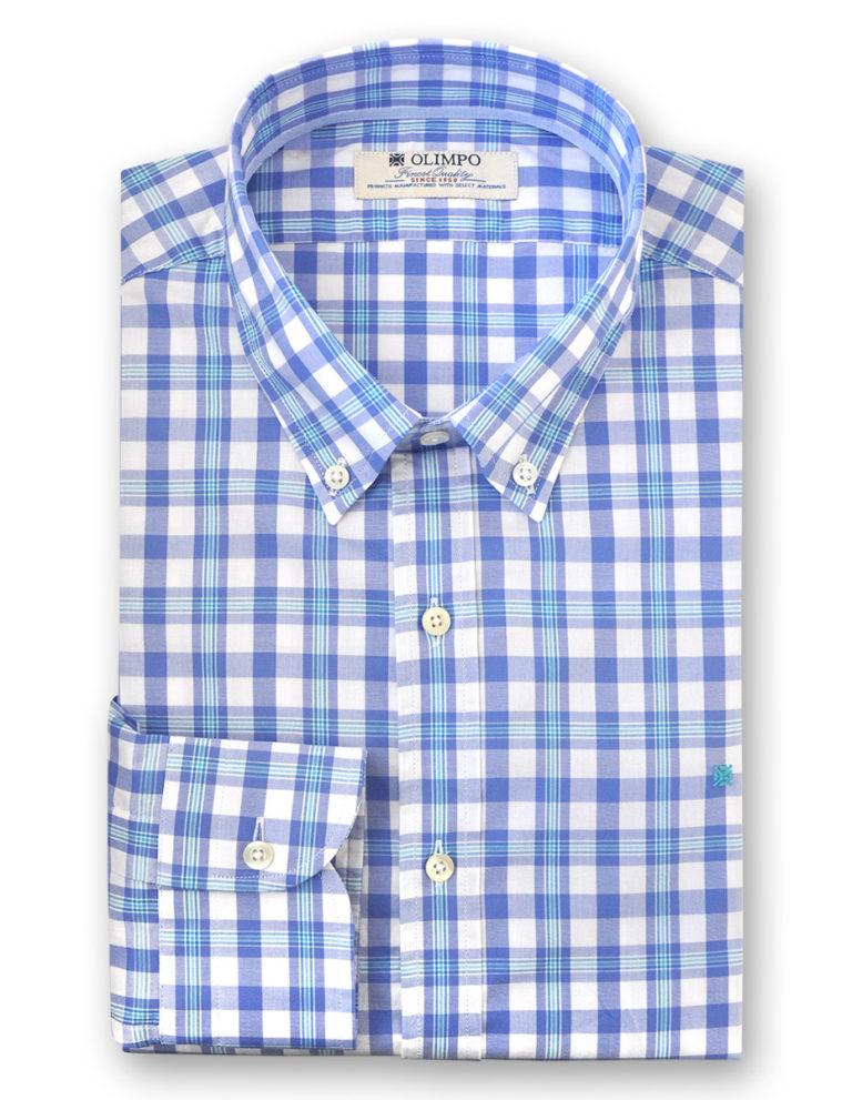 Camisa hombre de rayas y cuadros azules, marca Olimpo
