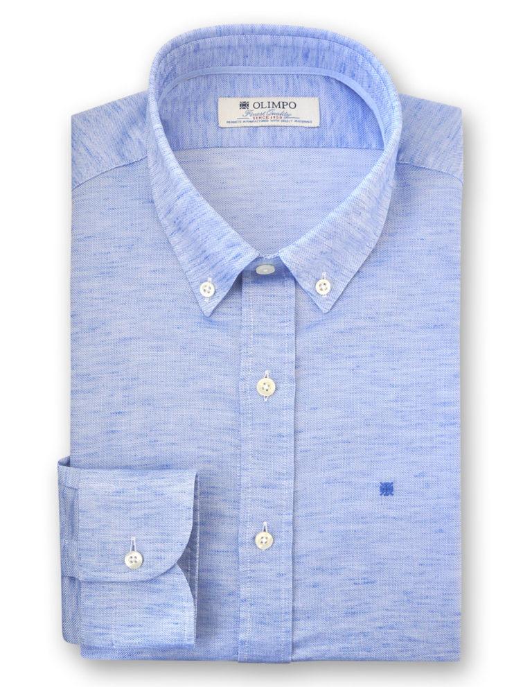 Camisa hombre de color azul, marca OLIMPO