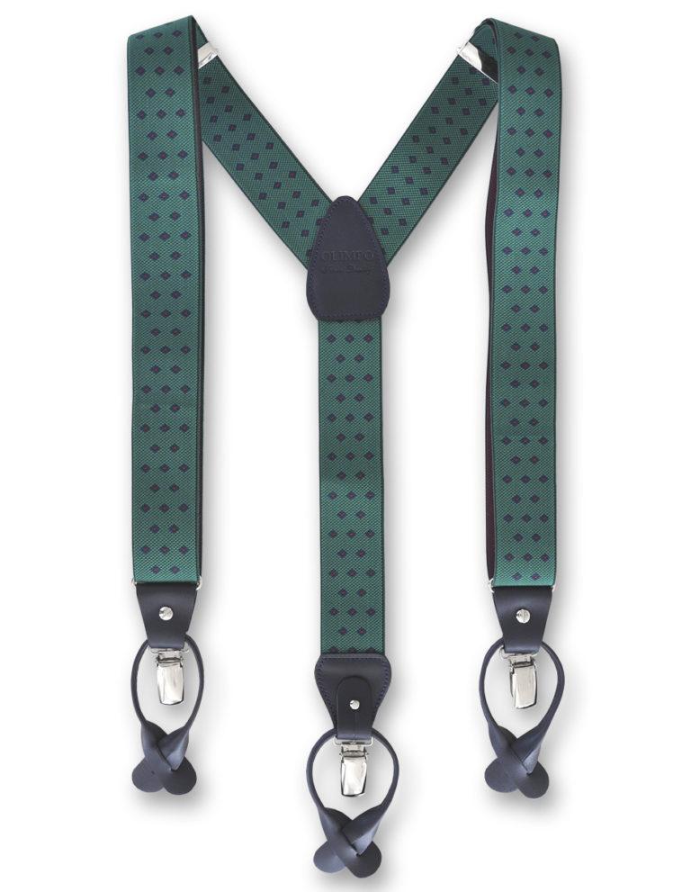 Tirantes para hombre eláticos de color verde con motivos geométricos azules