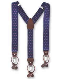 Tirantes de hombre para vestir, de color azul marino con motivos geométricos rosas