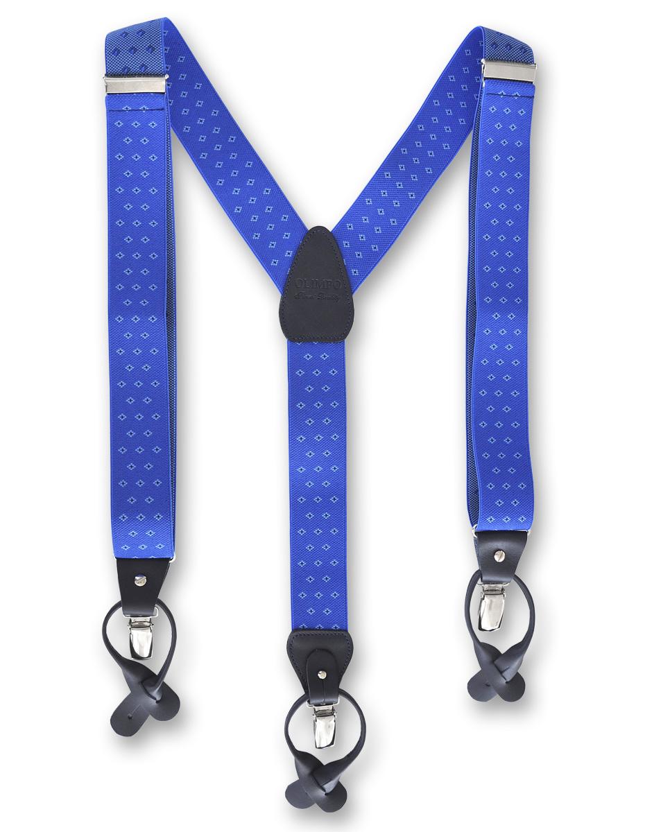 Tirantes para hombre azules con motivos geométricos